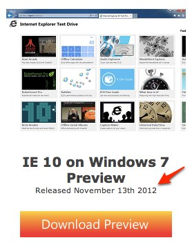 「Internet Explorer 10 for Windows 7 Preview」はまもなくリリース