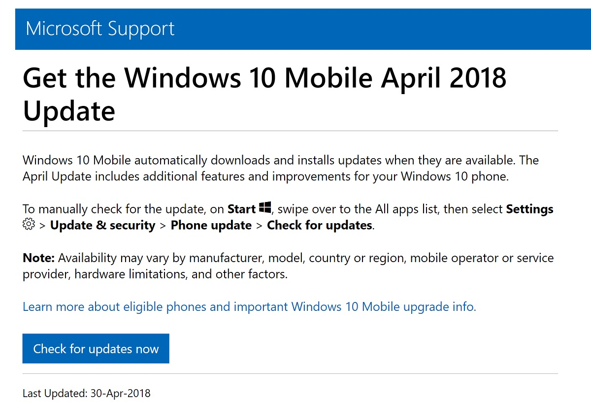 microsoft windows 10 mobile 向けにも april 2018 update を提供
